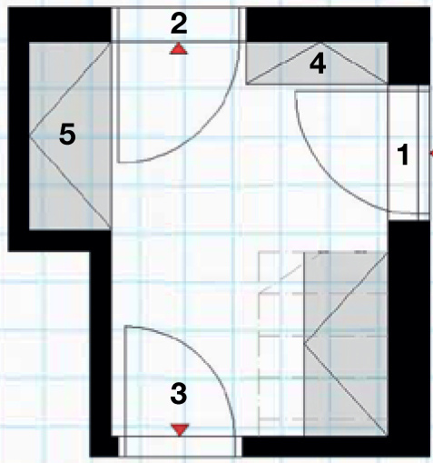 Pôdorys – návrh predsiene 1 hlavný vstup do domu 2 vstup do garáže 3 dvere do kuchyne 4 skrinka na topánky 5 vstavaná skriňa 6 vstavaná skriňa pod schodmi