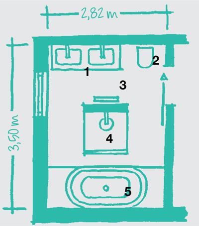 Legenda: 1 umývadlá, 2 WC, 3 radiátor, 4 sprcha, 5 vaňa