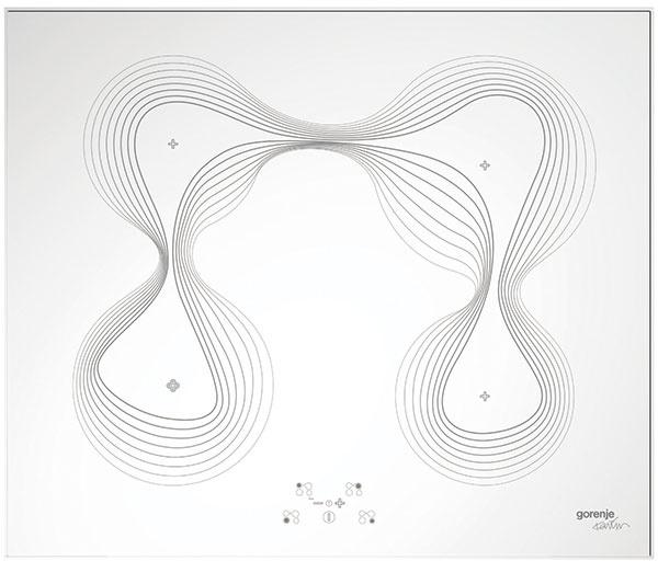 Gorenje IT65KR, indukčná varná platňa, dizajnový rad Karim Rashid, senzorové dotykové ovládanie, 60 × 5,6 × 51 cm, 705 €