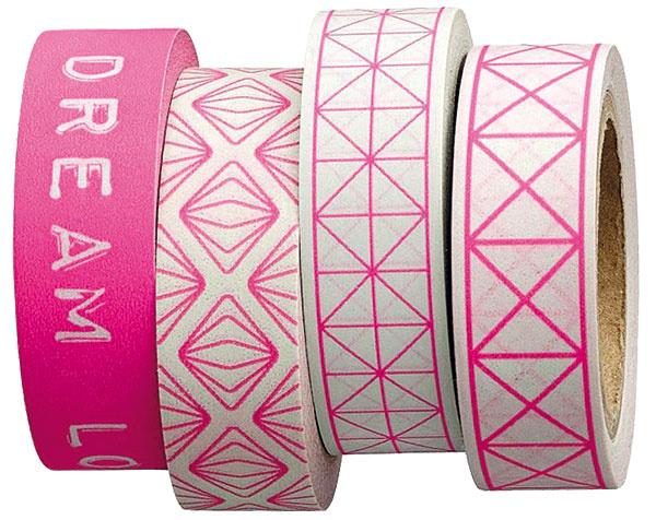 1 Samolepiace dekoračné pásky Pink neon od Bloomingville, vštyroch vzoroch neónovo ružovej farby, dĺžka 8 m, šírka 1,5 cm, 2,48 €, www.bellarose.sk