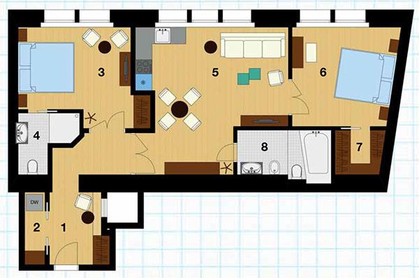 Pôdorys bytu po rekonštrukcii 1 chodba, 2 sklad a práčovňa, 3 izba, 4 kúpeľňa, 5 obývačka s kuchyňou a jedálňou, 6 izba, 7 šatník, 8 kúpeľňa