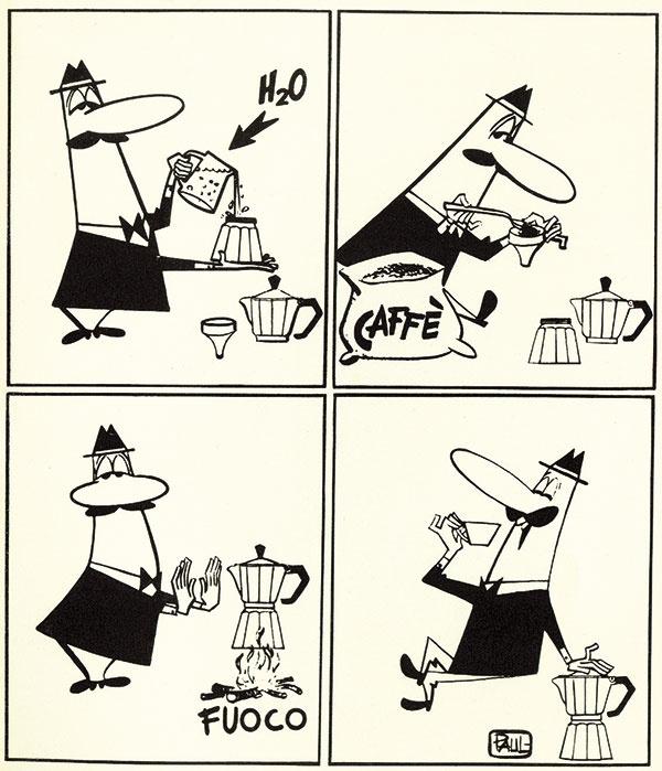 """Pravý kávovar Moka Express spoznáte podľa fúzatého mužíčka s ukazovákom nasmerovaným do neba. Maskota """"l'omino coi baffi"""" nakreslil karikaturista Paul Campani v roku 1953 podľa Renata Bialettiho."""