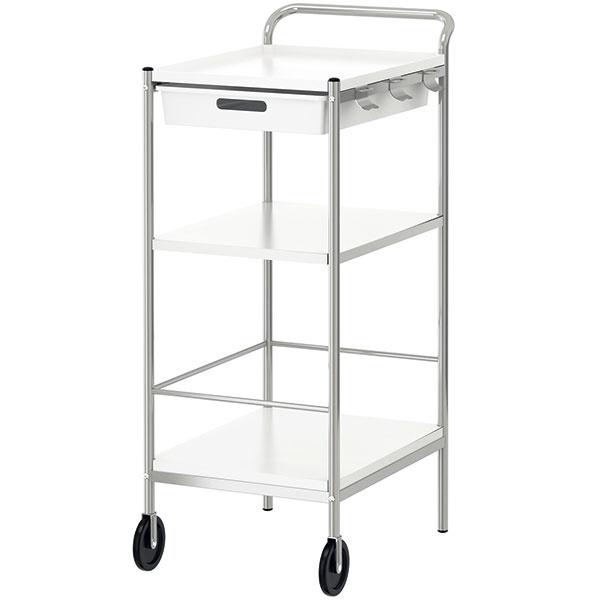 Kuchynský vozík Bygel, nehrdzavejúca oceľ, plast ABS, 39 × 59 × 98 cm, 24,99 €, IKEA