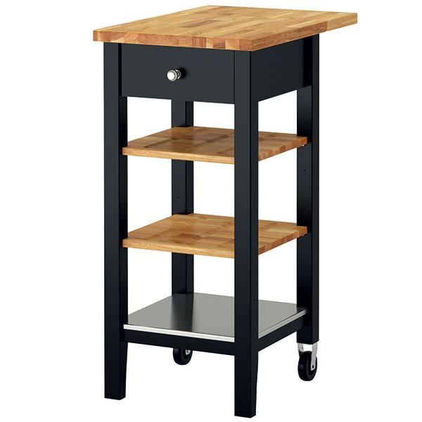 Kuchynský vozík Stenstorp, masívny dub abuk, nehrdzavejúca oceľ, nastaviteľné police, 43 × 44,5 × 90 cm, 99,90 €, IKEA
