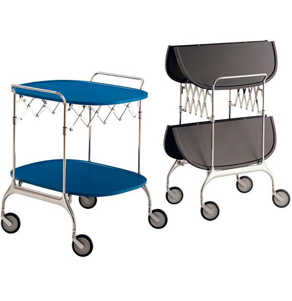 Skladací stolík Gastone, Kartell, kovové telo, plastová vrchná doska, dostupný vpiatich matných farbách, 604 €, Konsepti
