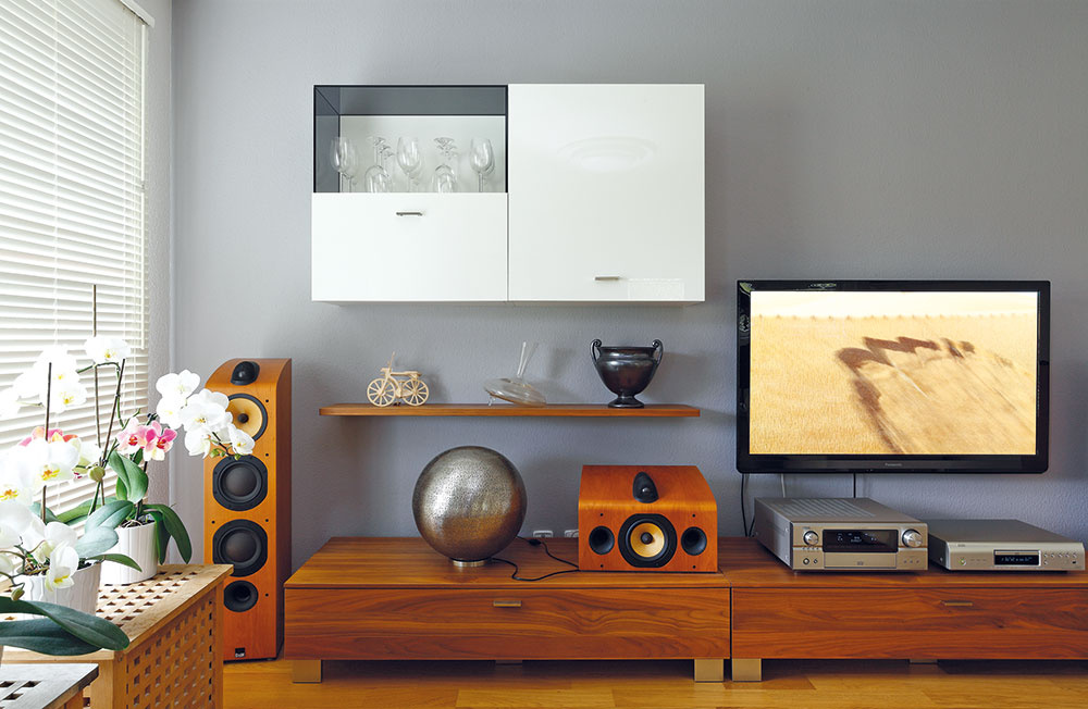 Základ obývačky vytvorila jednoduchá skrinková zostava velegantnej kombinácii dyhy zjadrového orecha alesklého bieleho laku. Zútulňuje ju niekoľko originálnych doplnkov, oživením hodným audiofila sú reproduktory so zaujímavým retrodizajnom.