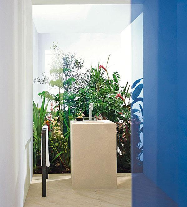 Rituálna kúpeľňa, ktorú navrhol architekt Mike Meiré pre Dornbracht, je inšpirovaná rajskou záhradou. Kolekcia produktov Mem od Sieger Design je charakteristická kombináciou hranatých a oblých tvarov na schematické vyjadrenie prírodnej organiky.