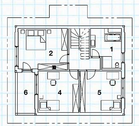 Poschodie 1 kúpeľňa + WC, 2 izba, 3 chodba, 4 izba, 5 izba, 6 balkón