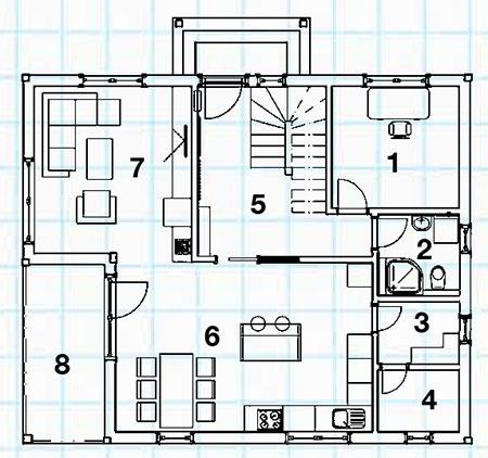 Prízemie 1 pracovňa, 2 kúpeľňa + WC, 3 špajza, 4 technická miestnosť, 5 chodba, 6 kuchyňa + jedáleň, 7 obývačka, 8 terasa