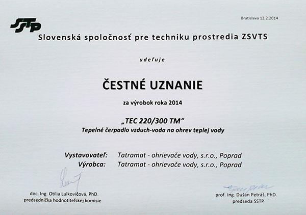 Čestné uznanie SSTP za výrobok roka 2014