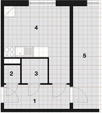 Pôdorys, súčasný stav  1 chodba, 2 WC, 3 kúpeľňa, 4 kuchyňa, 5 obývacia izba