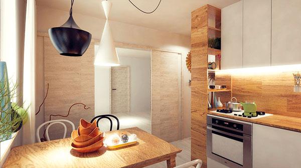 Prepojenie kuchyne aobývacej izby je tvorené veľkorysým priechodom širokým 1,4 m, uzatvárateľným dvomi posuvnými krídlami.