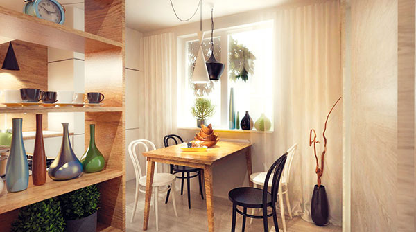 Vstup do kuchyne tvoria police až po strop. Nadväzujú na drevený obklad vchodbe atvoria hranicu kuchyne.