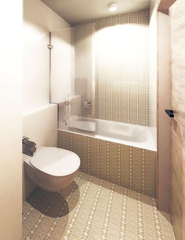 Keramický obklad použitý na stene vstavanej vane zaručil, že do priestoru zapadá. Sklenenú stienku oceníte pri sprchovaní.