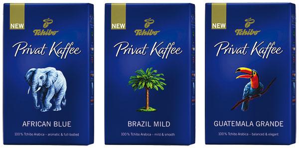 Tchibo Privat Kaffee, edícia zrnkových káv zcertifikovaných fariem Rainforest Alliance, intenzitu chuti označuje počet kávových zrniek na obale, 7,99 € za 500 g, www.tchibo.sk