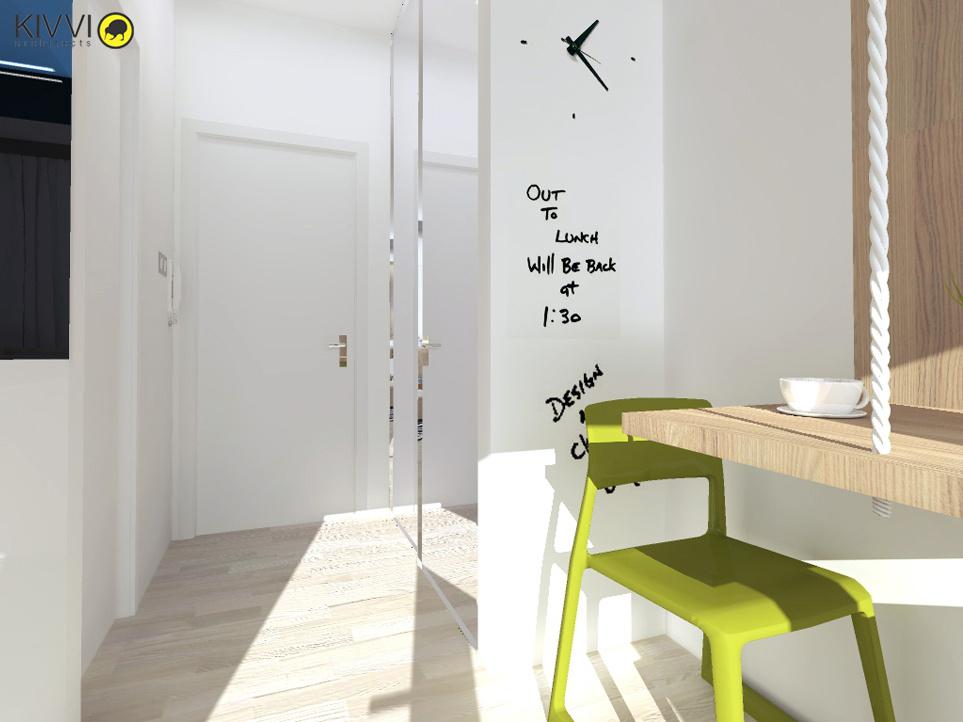 Návrh interiéru bratislavskej garsónky v troch farebných variantoch