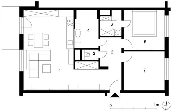 1 otvorený denný priestor 39,2 m2, 2 nočná chodba 5,2 m2, 3 WC 1,3 m2, 4 kúpeľňa 6,5 m2, 5 spálňa 12,3 m2, 6 šatník spráčkou 3,6 m2, 7 pracovňa (detská izba) 12 m2