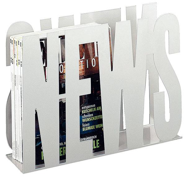 Stojan News, vo farebnej kovovej a alumíniovej povrchovej úprave, 52 × 12 × 32 cm, 29,90 €, kika