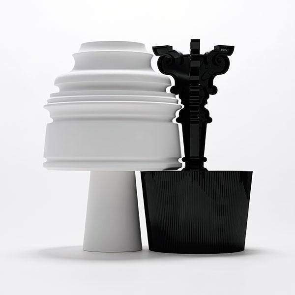 """""""Rozhodli sme sa rozpracovať dve najcharakteristickejšie črty tejto lampy – jej siluetu a priehľadnosť – pričom pôvodný dizajn sme nezmenili. Obrátením a rotáciou prvotnej siluety sme vytvorili novú stolovú lampu. Keď sú obe svietidlá postavené vedľa seba, priestor medzi nimi má tvar prevrátenej siluety lampy Bourgie. Keďže náš dizajn vytvorený ako pocta lampe Bourgie prevracia jednak vzťah medzi tvarom lampy a plochou, na ktorej je postavená, a jednak naše tradičné chápanie pojmov hore a dolu, pomenovali sme ho Eigruob."""" Nendo"""