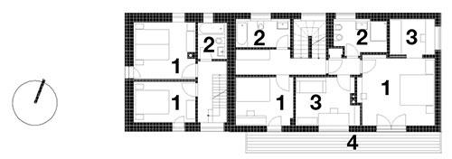 2. NP 1 Izba, 2 WC, kúpeľňa, 3 Pracovňa, 4 Balkón