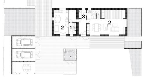 1. NP  1 Vstup, 2 Obytná hala s kuchyňou, 3 Technická miestnosť