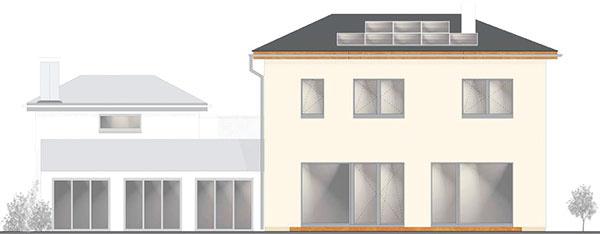 4 Energeticky pasívny rodinný dom Lysá nad Labem, Eneus s. r. o., zastavaná plocha 168 m2, podlahová plocha 162 m2, dispozícia 7 + 1