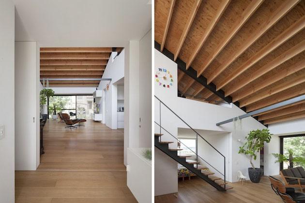 Interiér je celkovo ladený do kombinácií teplého dreva a bielej farby.