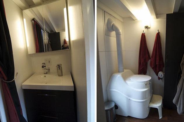 """Toaleta s netradičným WC – kompostovací záchod predstavuje ekologické riešenie """"ľudského odpadu"""" v dome."""