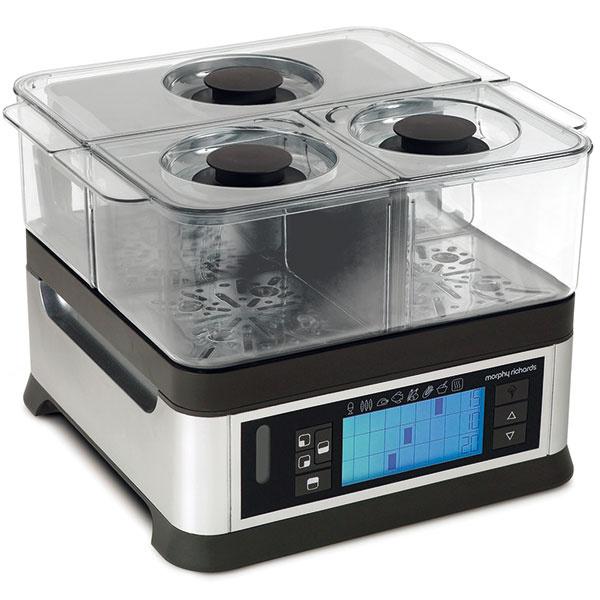 Morphy Richards Intelli Steam 48780  Ohrev: 1 600 W, 3× výhrevné teleso Časovač: elektronický spredvoľbami, udržanie teploty Koše: 3 oddelenia smožnosťou vyňatia priečky Výbava: 2× malá miska, 1× veľká miska, rošt