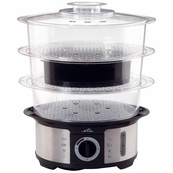 ETA Steampot  Ohrev: 1 000 W, výhrevné teleso Časovač: mechanický, 75 minút Koše: 3 poschodia, 2× odnímateľné dno Výbava: miska na varenie ryže (1,5 l)