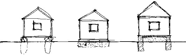 Architekt Tesák premýšľal nad viacerými typmi základov – od domu bez základov stojacom len na kameňoch cez základy zcestných panelov až nakoniec sa rozhodol pre základové pätky. (perovka: Juraj Tesák)