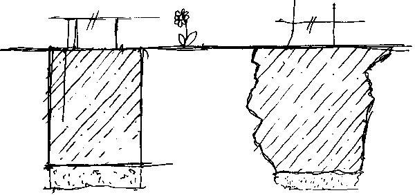 To, čo si architekt nakreslil, sa nie vždy dalo do detailov zrealizovať. Rovnako to bolo aj so základmi, pri ktorých sa navrhnuté rovné línie jednoducho nedali uskutočniť. (perovka: Juraj Tesák)