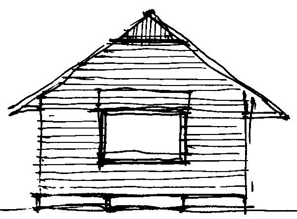 Pôvodným návrhom architekta Tesáka bola stavba drevodomu. (perovka: Juraj Tesák)