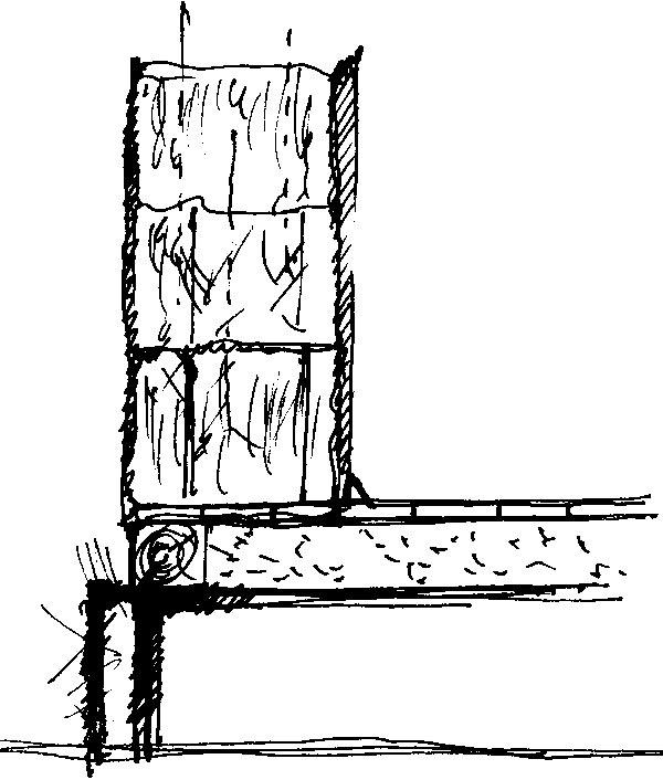 Prierez obvodovou konštrukciou, na stavbu ktorej sa použili slamené balíky. (perovka: Juraj Tesák)