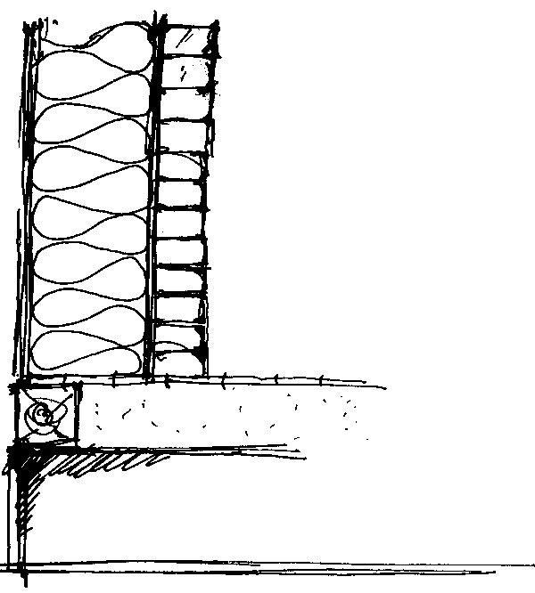 Prierez obvodovou konštrukciou, na ktorej výstavbu sa použila tehla. (perovka: Juraj Tesák)