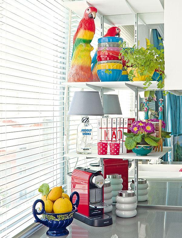 Police vkuchyni sú vyzdobené vpodobnom duchu ako knižnica vobývačke či stolík vchodbe. Pestré doplnky dodávajú členitému priestoru paradoxne výraznú jednotnosť.