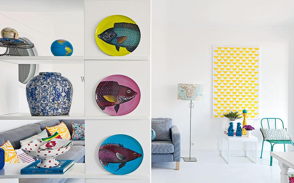 Pôsobivé doplnky Pomocou výrazných dekorácií dala Raquel, majiteľka bytu, všetkým priestorom vlastnú pečať osobitosti, romantiky apohodlia.