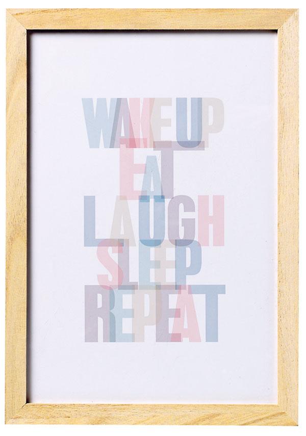 Drevený rám stextom Wake up, 21 × 30 cm, 13 €, www.bloomingville.com