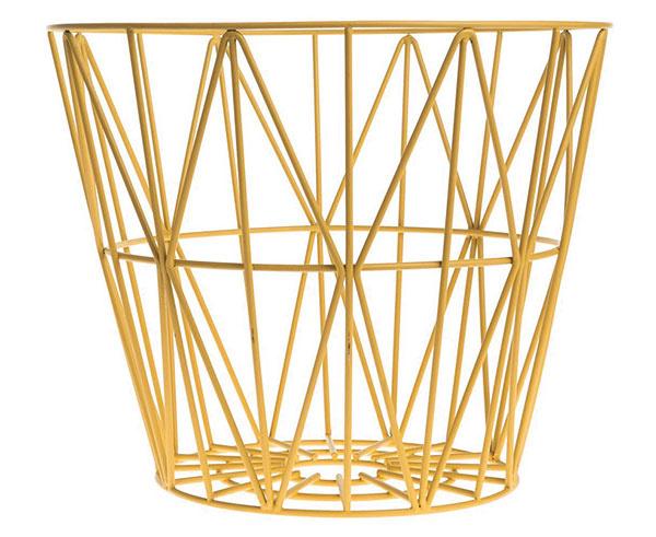 Drôtený kôš Yellow, výška 33,5 cm, 55,20 €, www.nordicday.sk