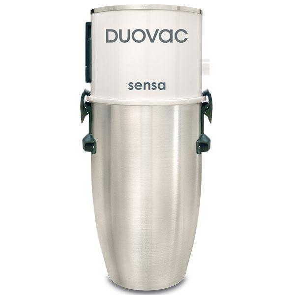 Centrálny vysávač Duovac Sensa je vhodný do bytov arodinných domov splochou do 350 m2. Jeho výhodou je veľký sací výkon, minimálna hlučnosť aveľký objem nádoby (25,7 l) zbrúseného hliníka, ktorá podporuje cyklónový efekt adisponuje samočistiacim filtrom, 627 €, Newag.