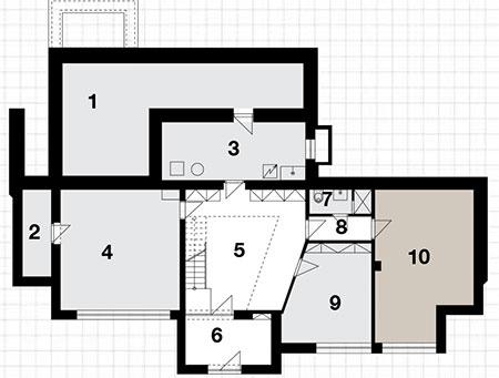 Suterén 1  sklad 2  sklad 3  technická miestnosť 4  garáž 5  hala 6  zádverie 7  kúpeľňa sWC 8  chodba 9  izba 10 izba