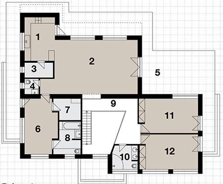 Prízemie 1  kuchyňa 2  obývacia izba 3  komora 4  WC 5  terasa 6  spálňa rodičov 7  šatňa 8  kúpeľňa sWC 9  galéria 10 kúpeľňa sWC 11 detská izba 12 detská izba