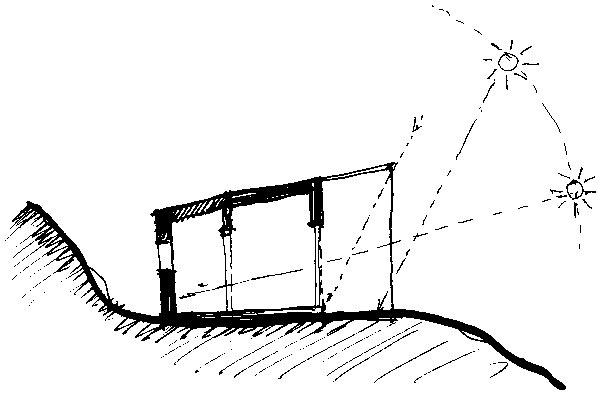 Prirodzené teplo slnečných lúčov využil architekt skutočne premyslene. Vďaka svojim dômyselným   prepočtom dosiahol vlete tieň avzime zohrievanie interiéru slnkom. (perovka: Juraj Tesák)