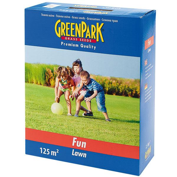 Trávne osivo Green Park Fun na zakladanie arenováciu zaťažovaných trávnikov, vhodné na všetky záhradne pôdy, rýchle klíčenie – po asi ôsmich týždňoch je trávnik hustý azaťažiteľný. 1 kg, 20 g/1 m2, akciová cena 3,90 €, Mountfield