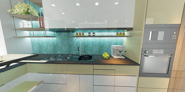 Oproti vstupu do kuchyne sme navrhli výškový blok, ktorý slúži ako úložný priestor. (Nákup tak môžete vyložiť bez toho, aby ste sa museli obchádzať stým, kto práve umýva riad či pripravuje večeru.) Rovnako ako horné skrinky siaha až po strop, aby sa maximálne využil priestor.