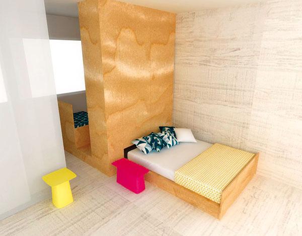 """""""Všuplíku"""". Výhodou výsuvnej postele oproti vyklápaciemu variantu je využitie priestoru nad lôžkom napríklad na vstavané skrine. Vďaka tomu, že posteľ sama osebe je pomerne nízka (asi 40 cm), """"pódium"""", ktoré nad ňou vznikne, je možné využiť aj ako úspornú detskú izbu. Systém postele všuplíku využili vpodobnej realizácii vSydney aj Anthony Gill Architects."""