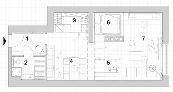 1.vstup 2.kúpeľňa + WC 3.šatník + tech. miestnosť 4.kuchyňa s jedálňou 5.pracovisko 6.spálňa – zápecie 7.obývacia časť