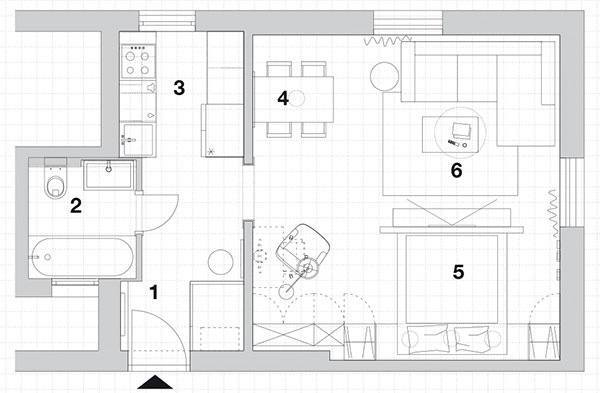 1.vstup 2.kúpeľňa + WC 3.kuchyňa 4.jedálenská časť  5.spálňová časť 6.obývacia časť