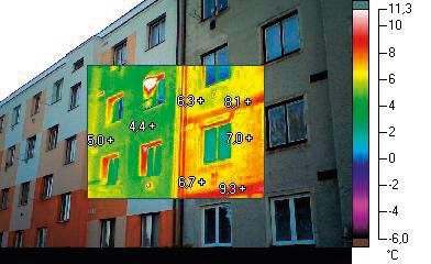 Termovízne snímky fasády budovy so základným zateplením a bez zateplenia. Červená farba dokumentuje tepelné úniky.