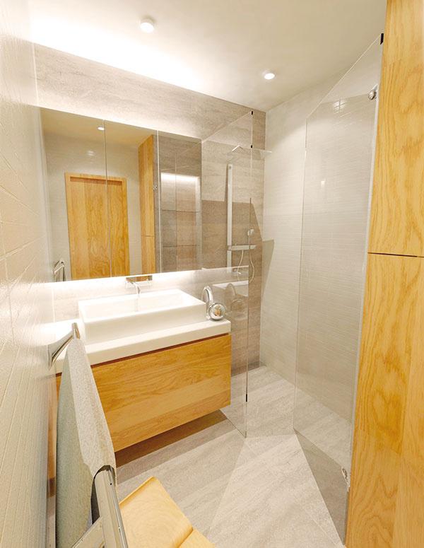 1 Umiestnenie umývadlovej skrinky hlbokej 0,6 m oproti vstupu má výhodu praktickejších rozmerov voľného priestoru 1 × 1,2 m. Priamo viditeľná zrkadlová skrinka je zvrchu aj zospodu podsvietená LED pásom, čo príjemne necháva vyniknúť povrchovú štruktúru kamenného obkladu alebo mozaiku.